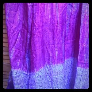 Large Hand Dyed Pink-Purple Silk Scarf